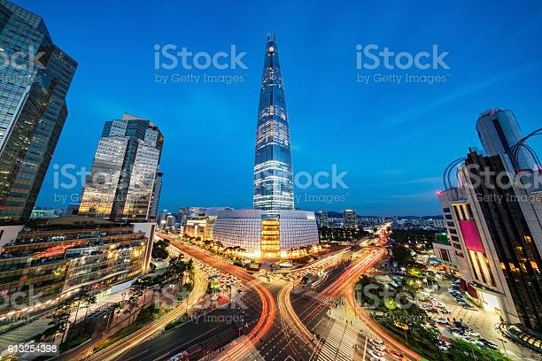 Cityscape Songpagu Skyscrapers Lotte World Tower At Night Seoul Stock Photo - Download Image Now