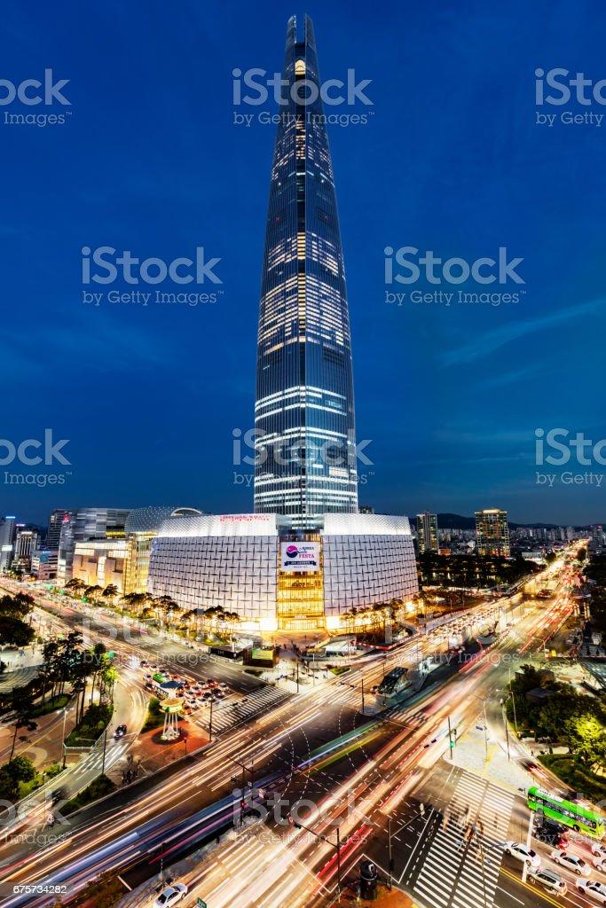 Cityscape Songpagu Skyscrapers Lotte World Tower at Night Seoul stock photo