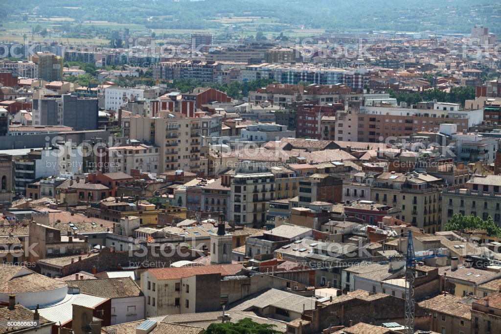 cityscape Suburb Barcelona view from the bird's eye view stock photo
