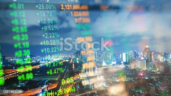 istock Cityscape thailand with investment theme background and stock market chart 1031993036