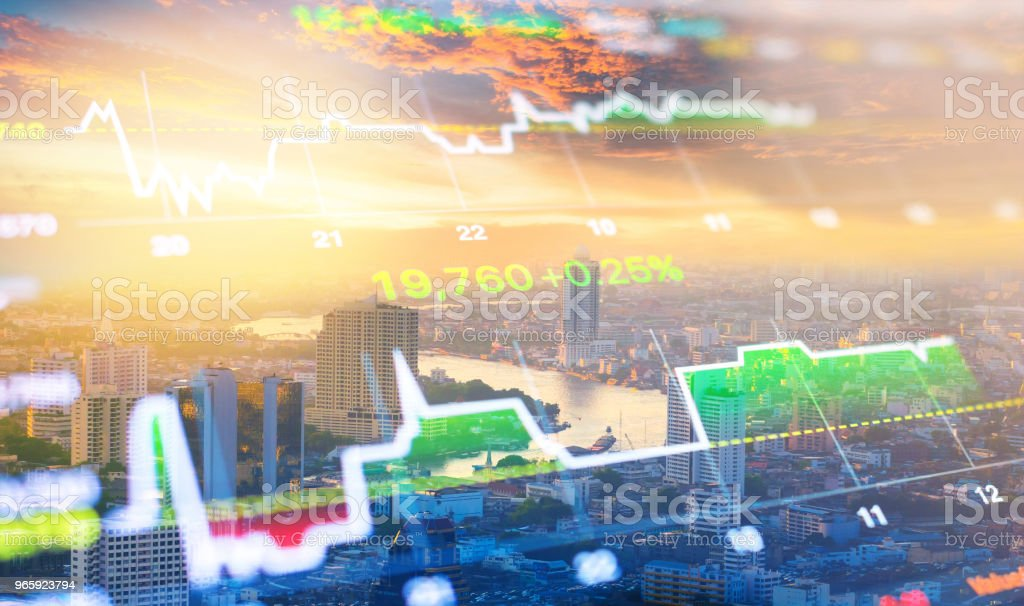 Cityscape thailand with investment theme background and stock market chart - Royalty-free Artificial Intelligence Stock Photo