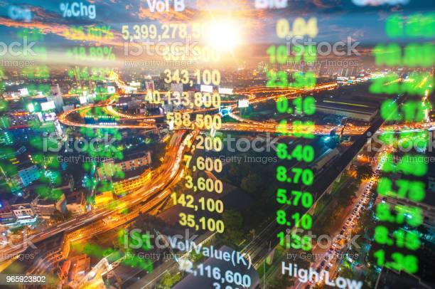 Cityscape Thailand With Investment Theme Background And Stock Market Chart Stock Photo - Download Image Now