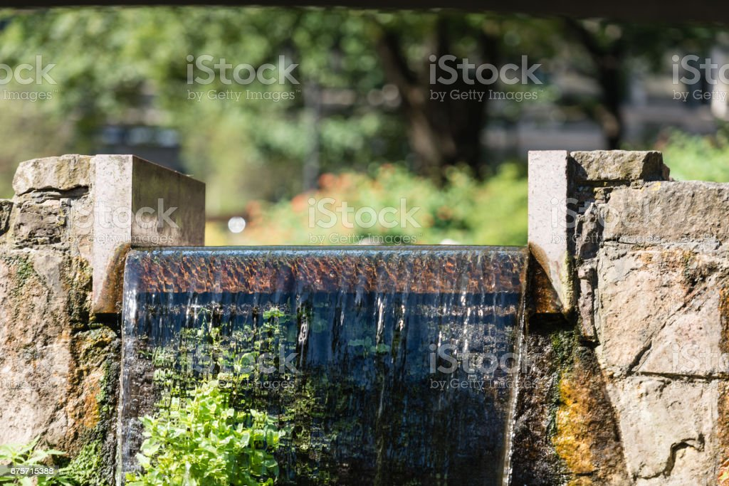 Cityscape. The urban landscape with a waterfall. royalty-free stock photo