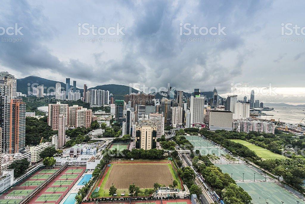 cityscape Victoria Park Causeway Bay Hong Kong stock photo