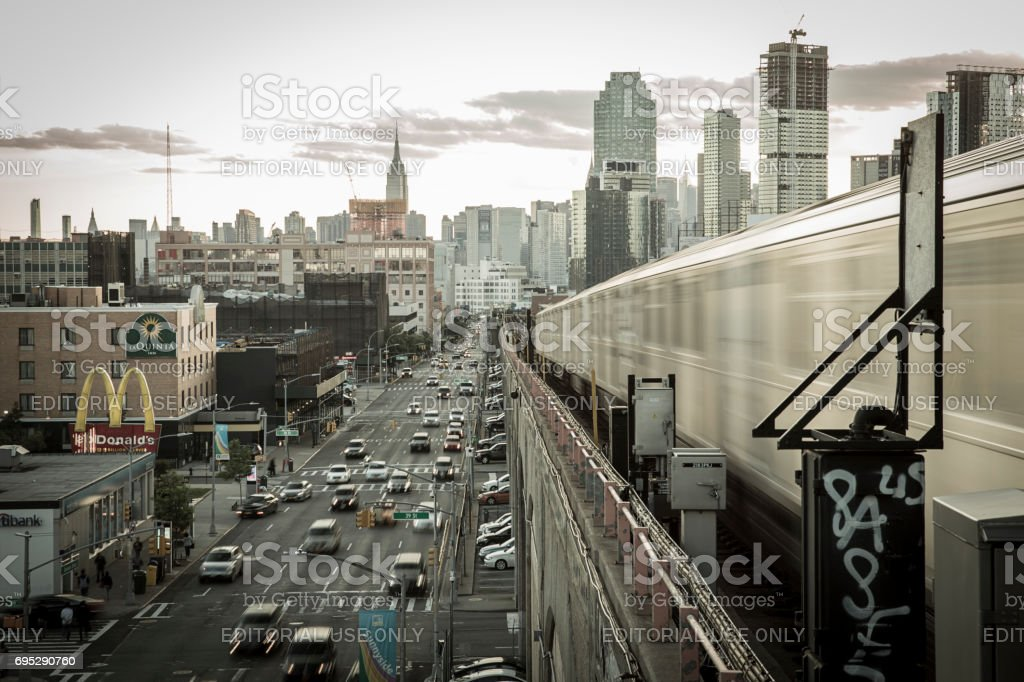 NYC cityscape view from 40 St Lowery St subway station stock photo