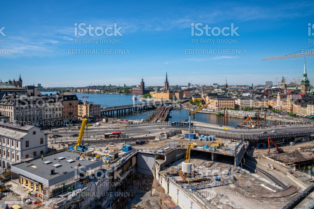 Cityscape view from above of large contruction site. stock photo