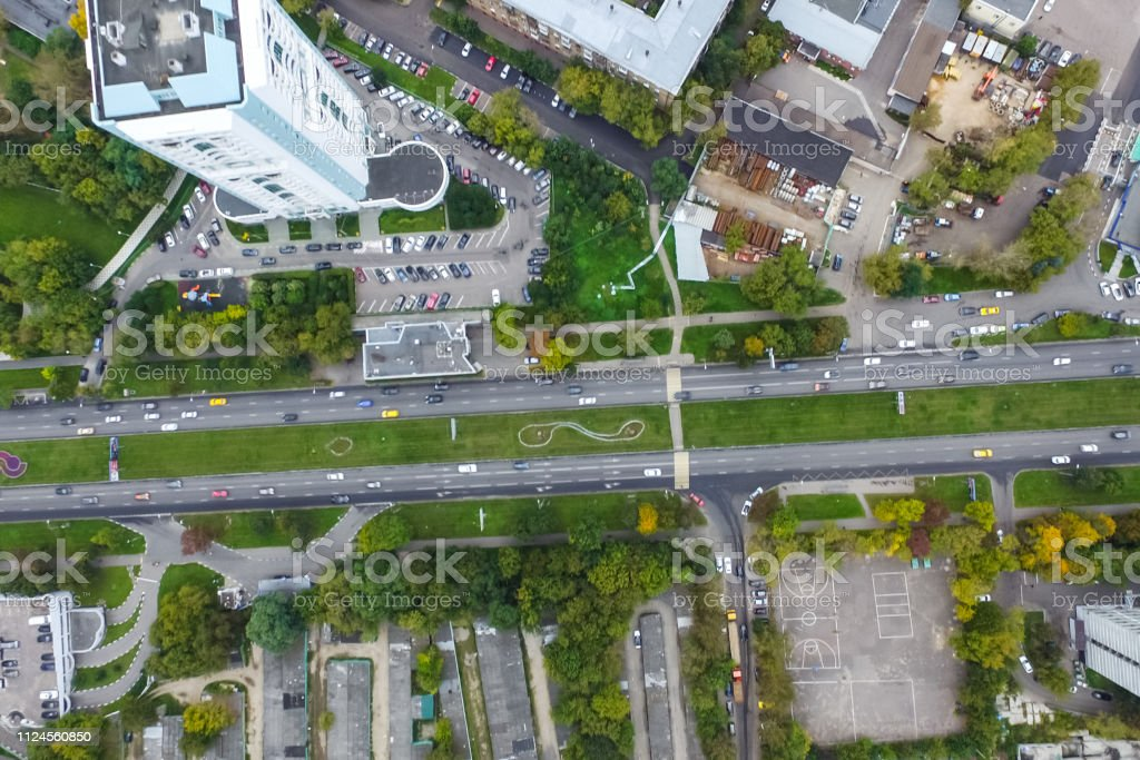 Top view of the city of Moscow, buildings and roads and other...