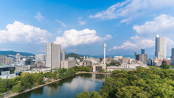 Cityscape view from the Hiroshima castle Cityscape view from the Hiroshima castle hiroshima prefecture stock pictures, royalty-free photos & images