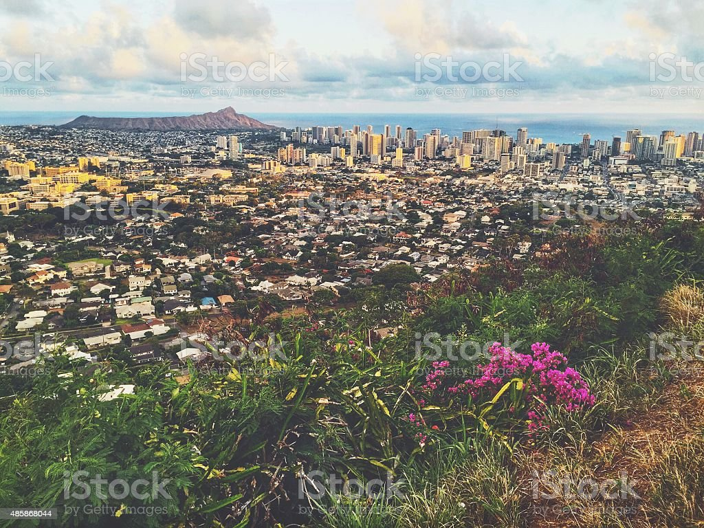 Cityscape View Honolulu Diamond Head Oahu Hawaii stock photo