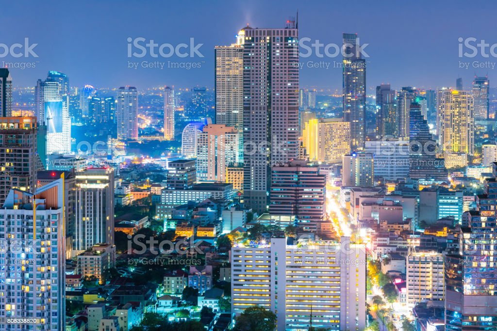 Cityscape View Of Bangkok Business Building In Business Zone