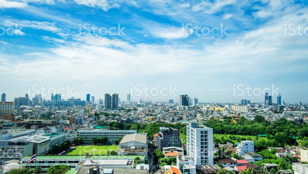Stadtansicht Blick auf Bangkok Thailand mit Himmel und Wolken Lizenzfreies stock-foto