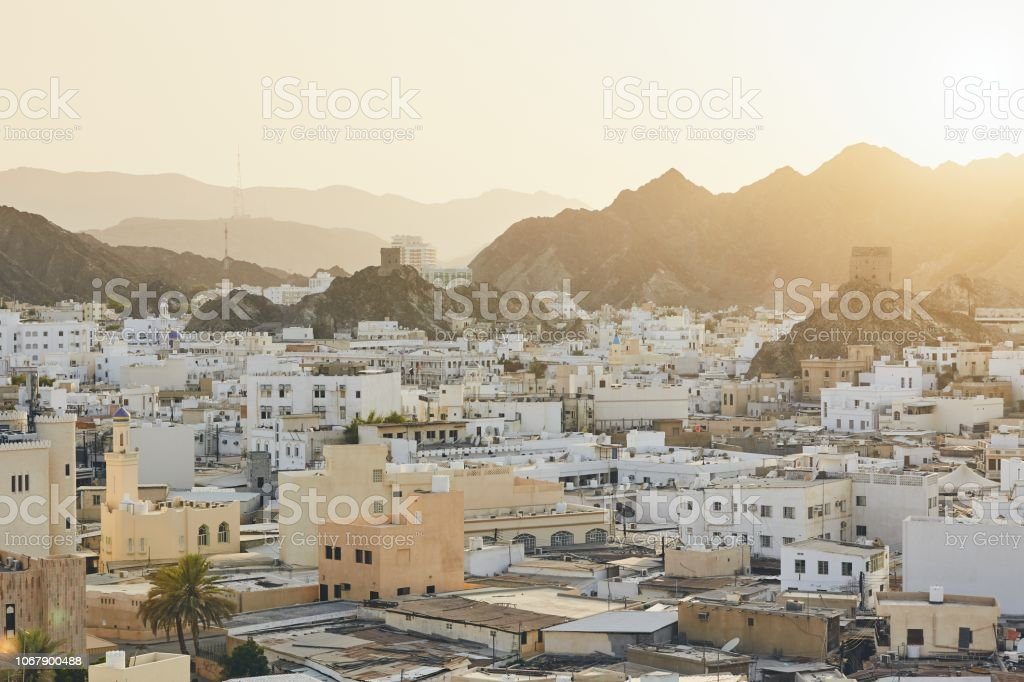 Cityscape view of Muscat stock photo