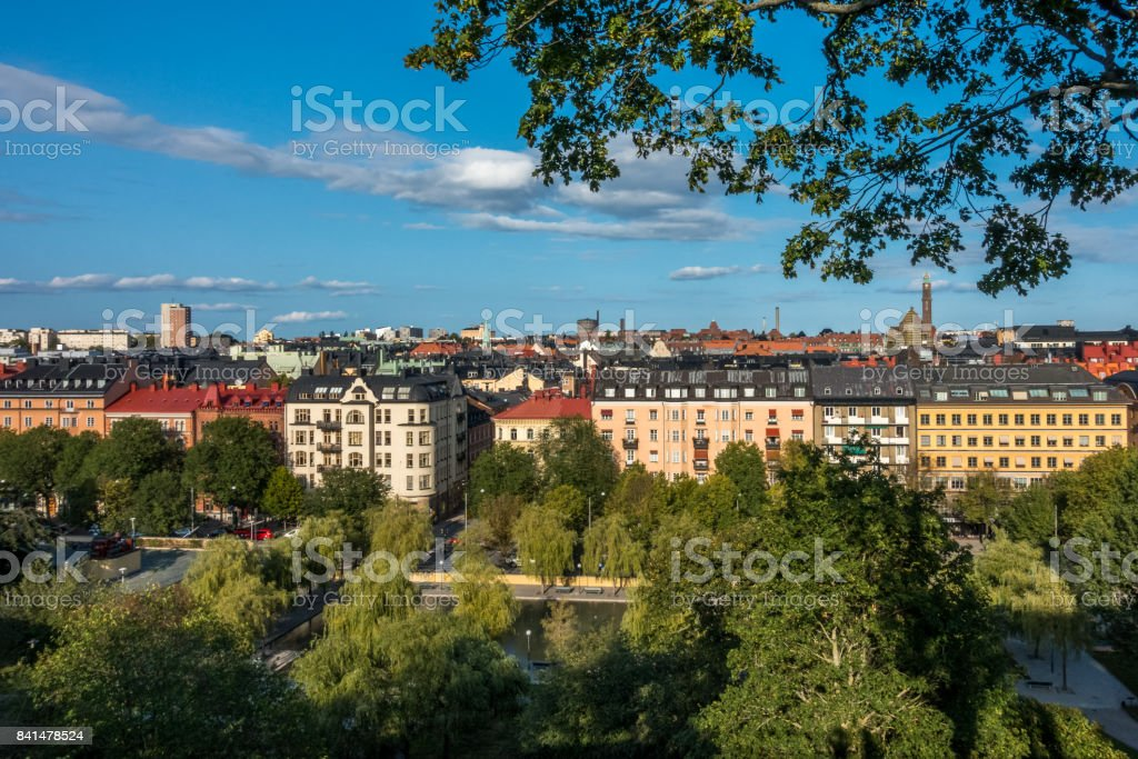 Cityscape view of Stockholm from above with trees and buildings. royalty-free stock photo
