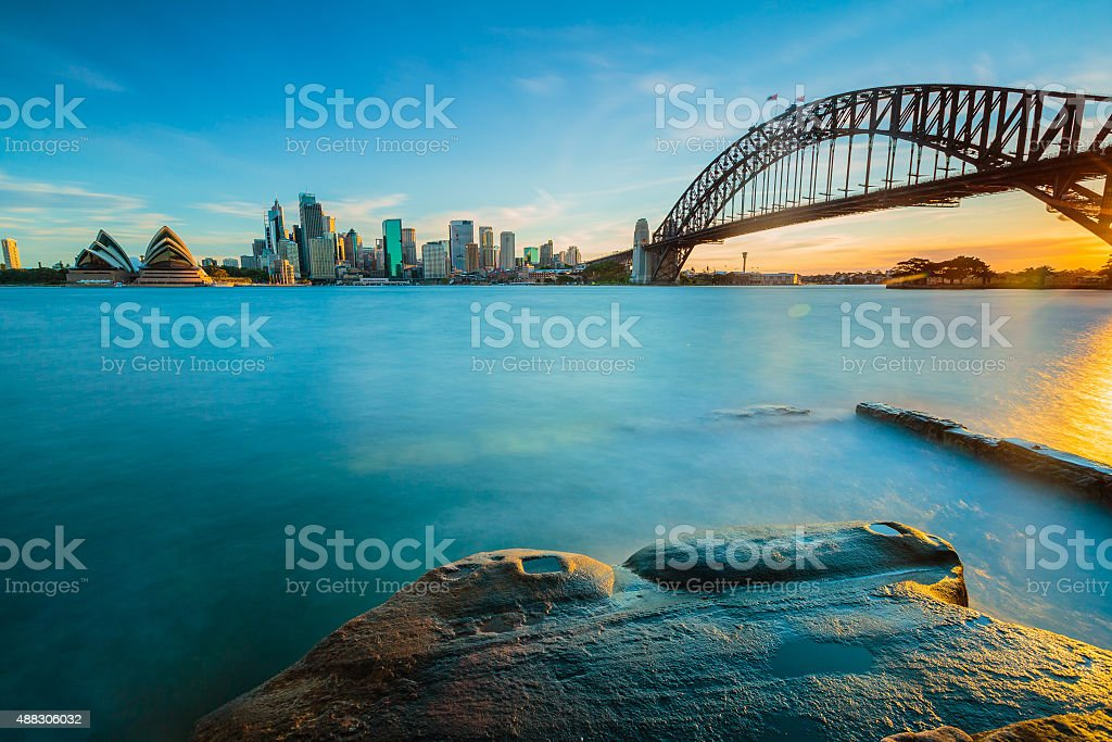 Cityscape view of Sydney, Australia in evening. stock photo