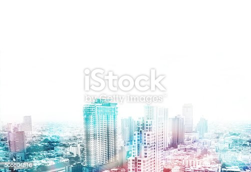 istock Cityscape view overlay with color and leave copy space 505804816