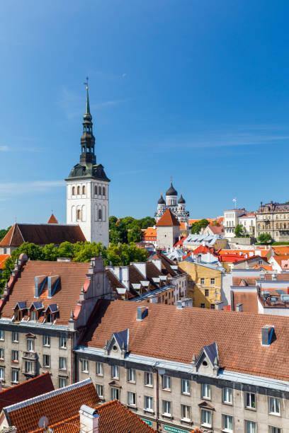 Cityscape view to Tallinn old town, Estonia stock photo