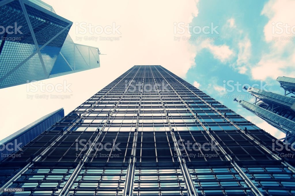 Abstract futuristic cityscape view with modern skyscrapers, low angle...