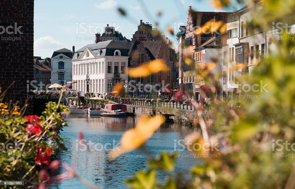 Cityscape with a channel in the city of Gent in Belgium stock photo