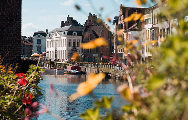 Cityscape with a channel in the city of Gent in Belgium - Photo