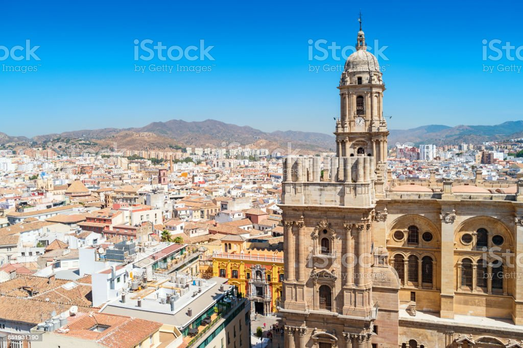 Cityscape with Cathedral of Malaga Andalusia Spain stock photo