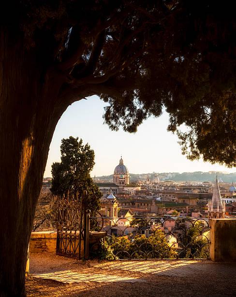 Stadt mit Kirche Kuppeln in der Abenddämmerung, Rom, Italien – Foto