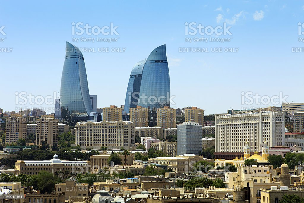 Cityscape with Flame Towers stock photo