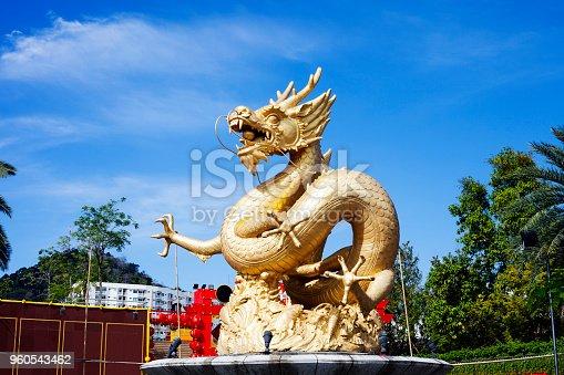istock Cityscape with fountain with golden sea Dragon, Phuket, Thailand 960543462
