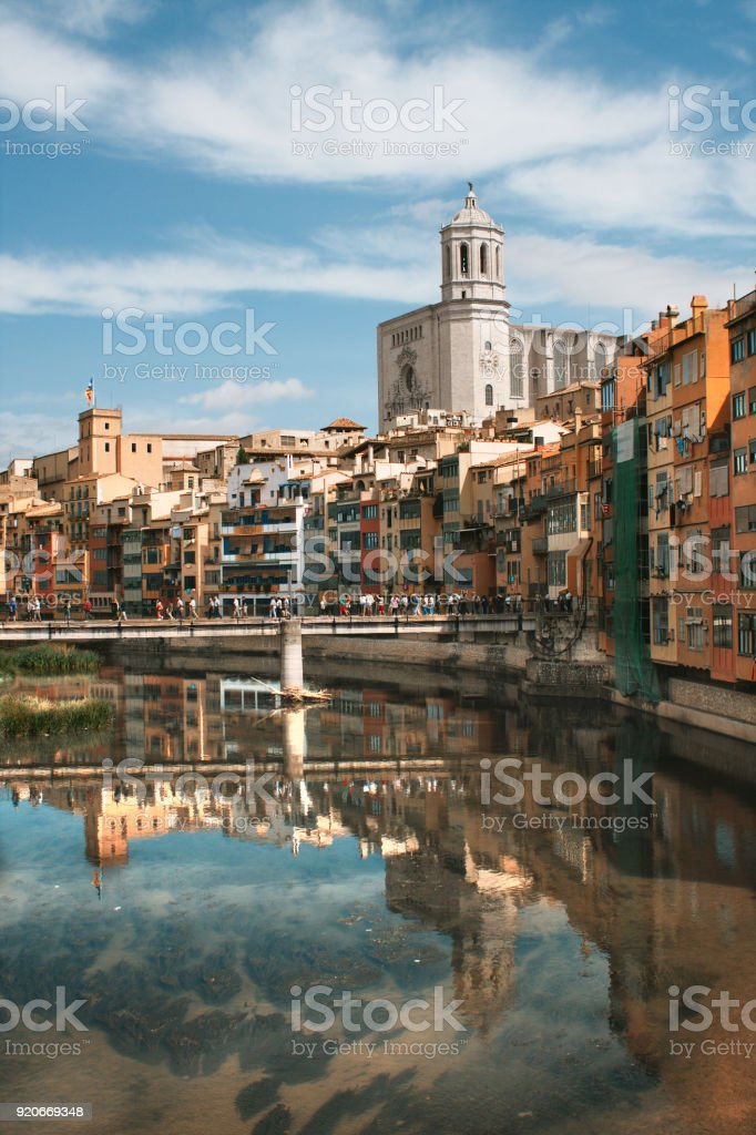 cityscape with hanging houses of Girona stock photo