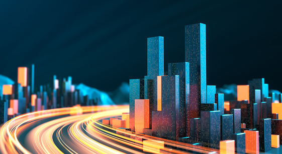 Cityscape With Light Streaks - Urban Skyline, Data Stream, Internet Of Things, Architectural Model, Traffic And Transporation