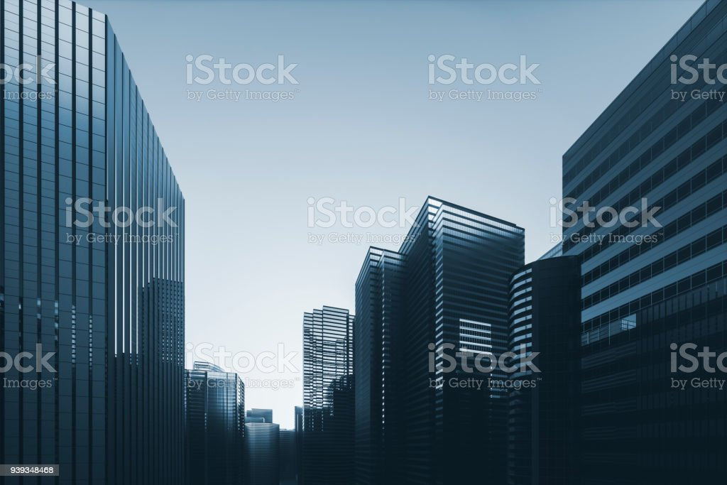 Cityscape with modern glass skyscrapers
