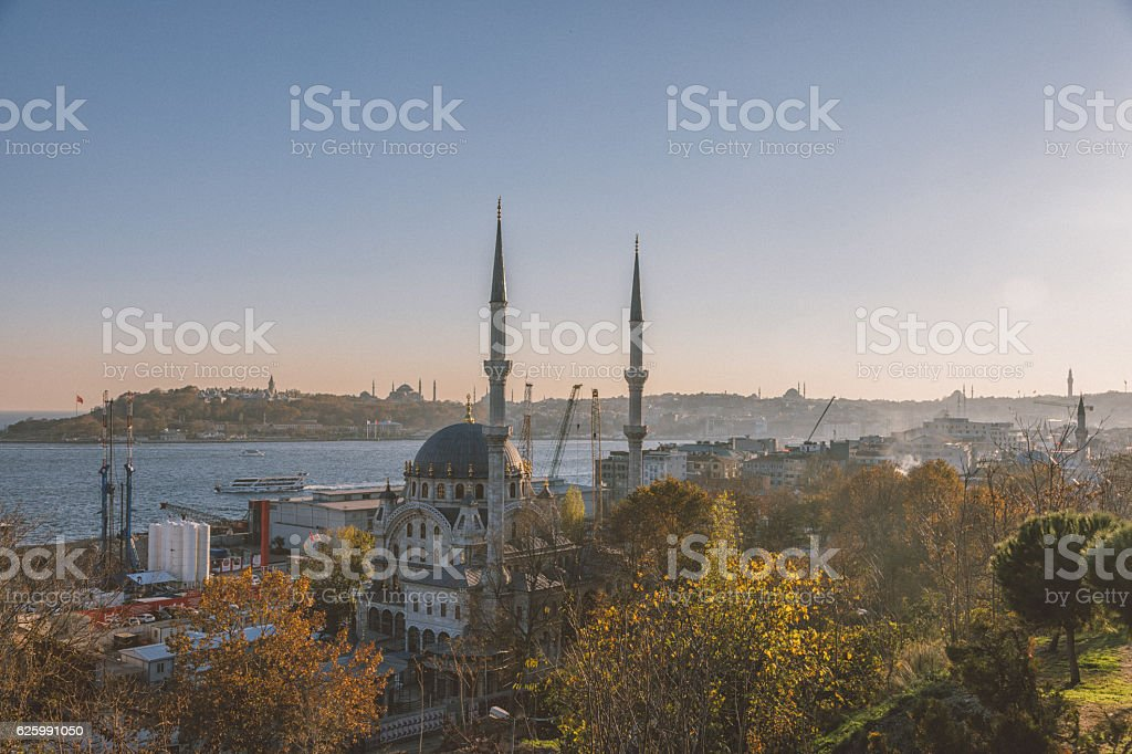 Cityscape with Mosques and Bosphorus in Istanbul, Turkey stock photo