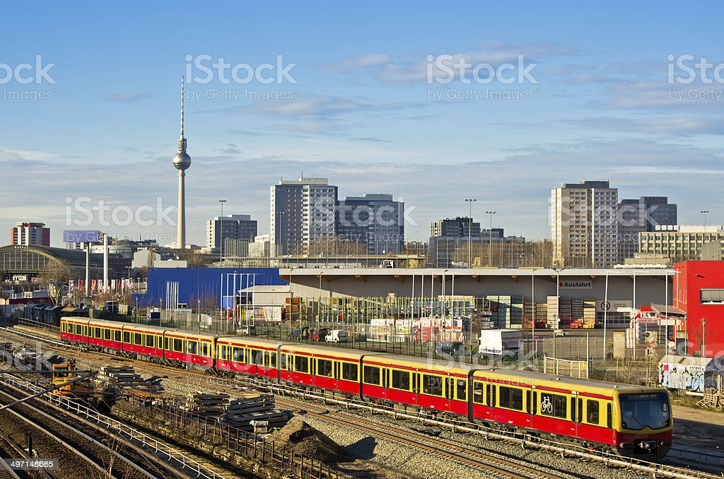 Cityscape with railroads in Berlin, Germany stock photo