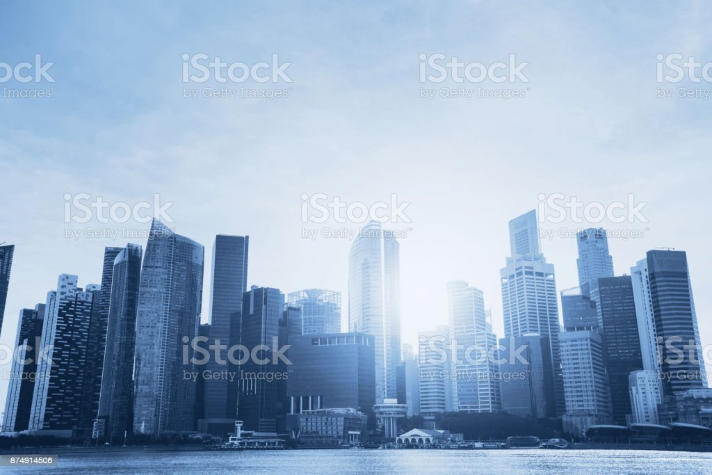 cityscape with skyscrapers and copyspace stock photo