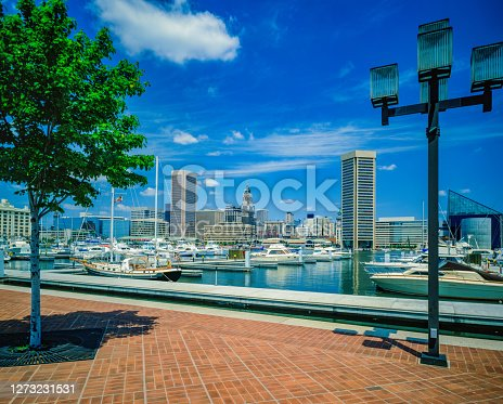 Downtown Baltimore with Inner Harbor view from Federal Hill Park, with recreational yachts.