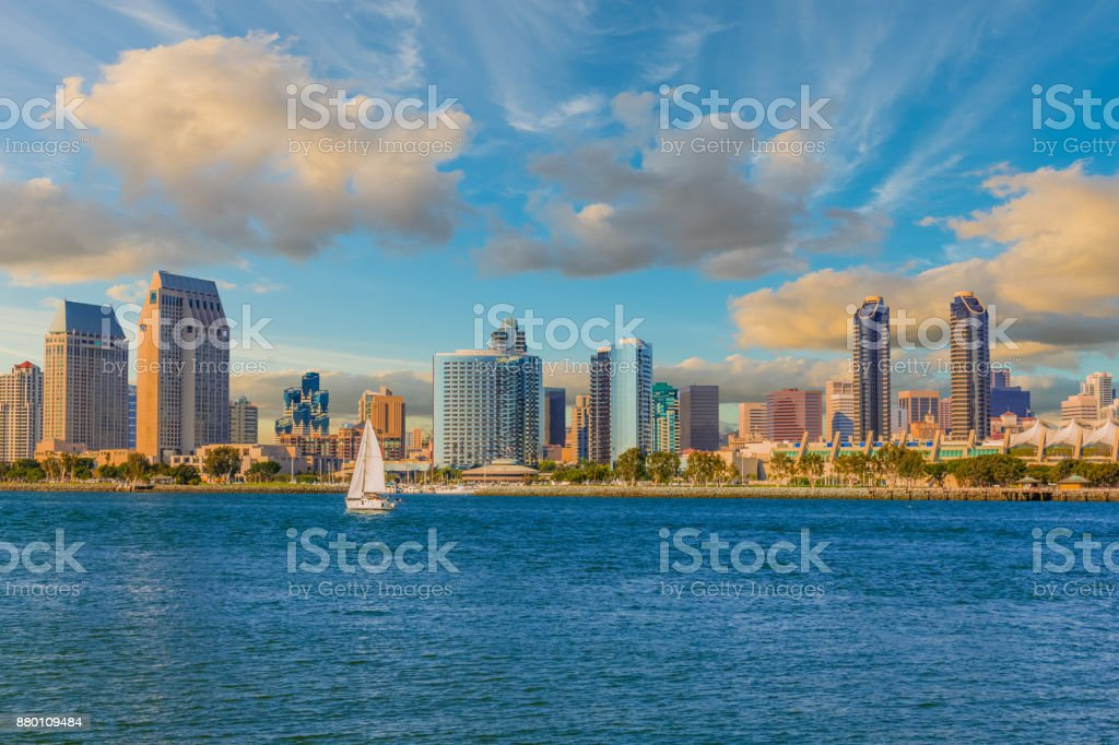 Cityscape with skyscrapers of San Diego Skyline, Ca (P) stock photo