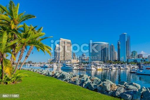 Major usa city; safe harbor; moored recreational boats; morning light; peaceful mood