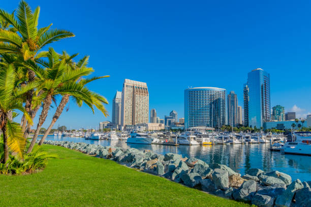 Cityscape with skyscrapers of San Diego Skyline, Ca stock photo