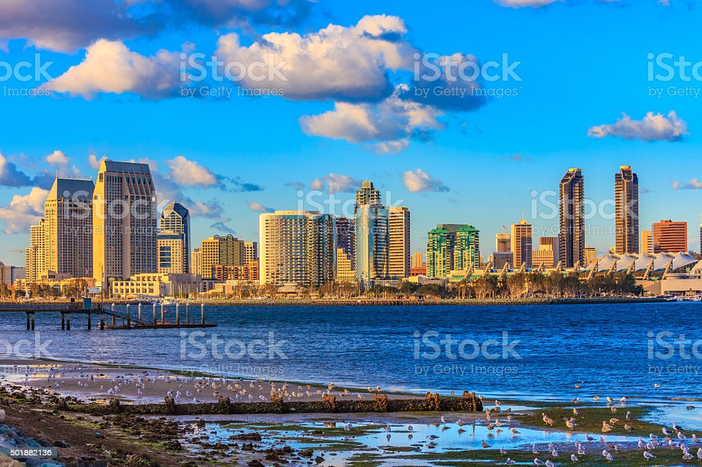 Cityscape with skyscrapers of San Diego Skyline, California stock photo
