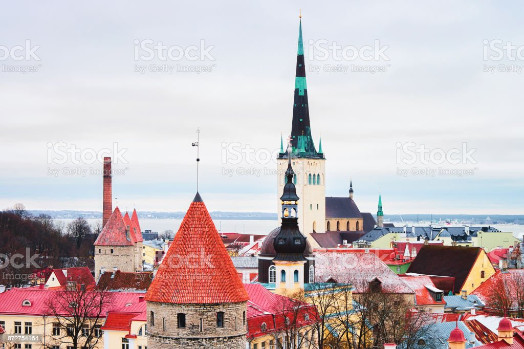 Cityscape with St Olaf Church and defensive walls at Tallinn stock photo