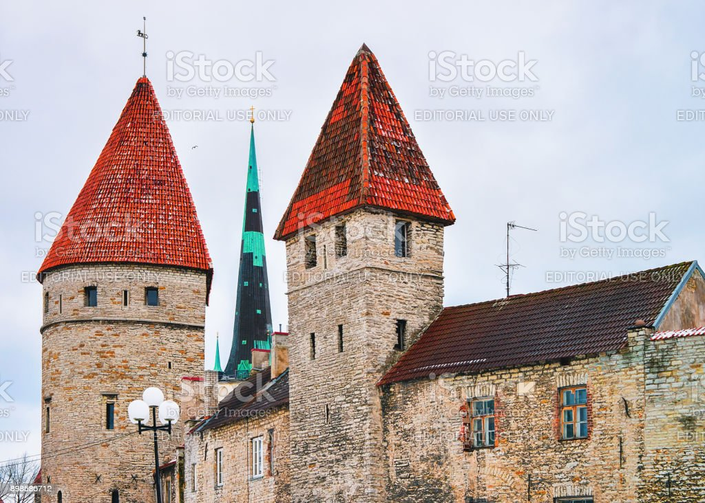 Cityscape with St Olaf Church and defensive walls Tallinn stock photo