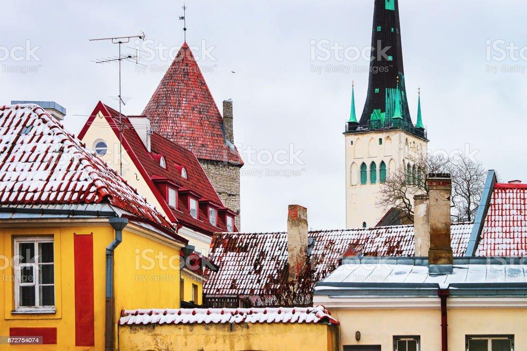 Cityscape with St Olaf Church of Tallinn stock photo
