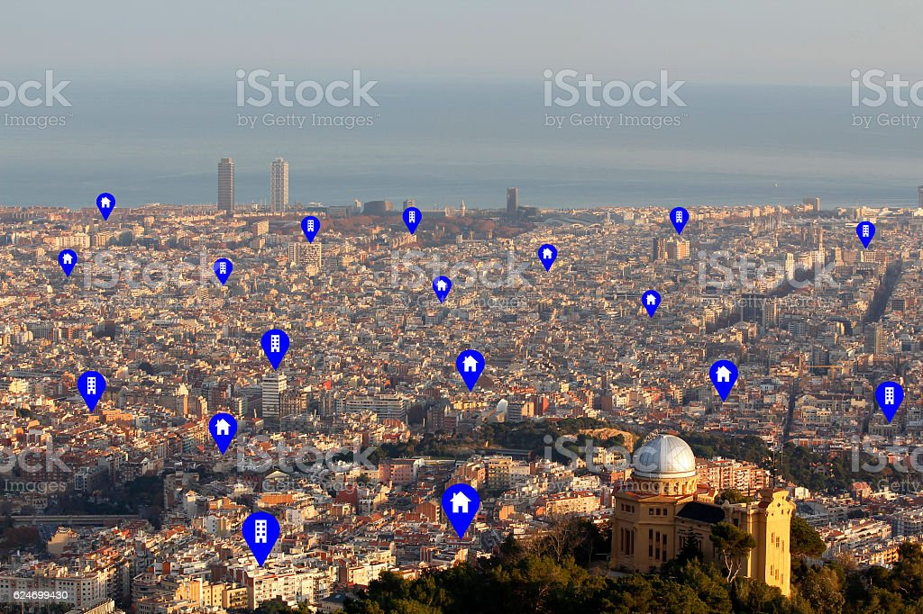 Cityscape with tags in on sale buildings and houses stock photo
