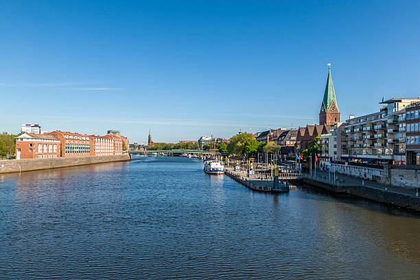 Cityscape with Teerhof on the left  at river Weser stock photo