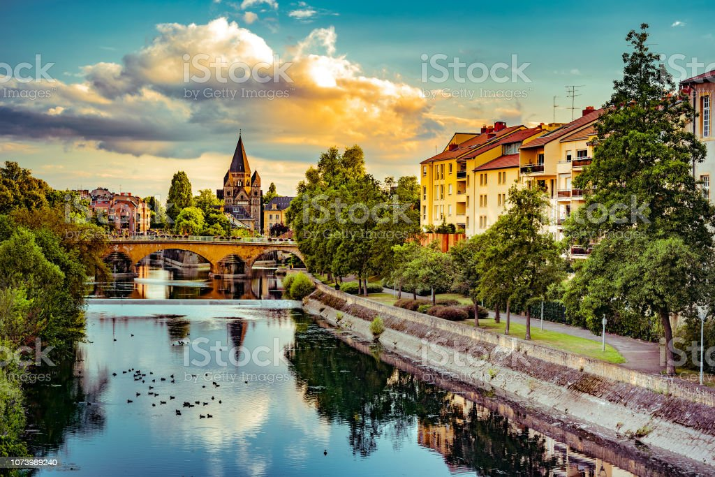 Cityscape with Temple Neuf in Metz stock photo