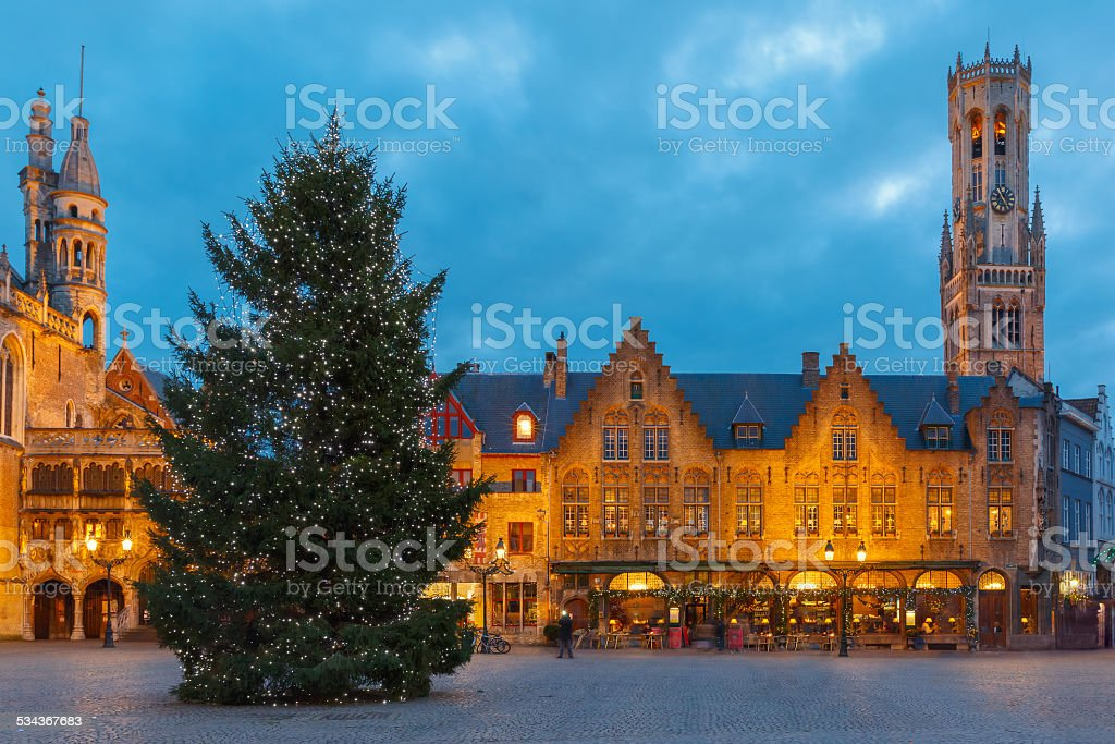 Cityscape with the Christmas Burg Square in Bruges stock photo