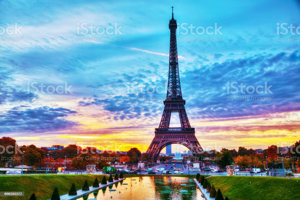 Cityscape with the Eiffel tower in Paris, France stock photo