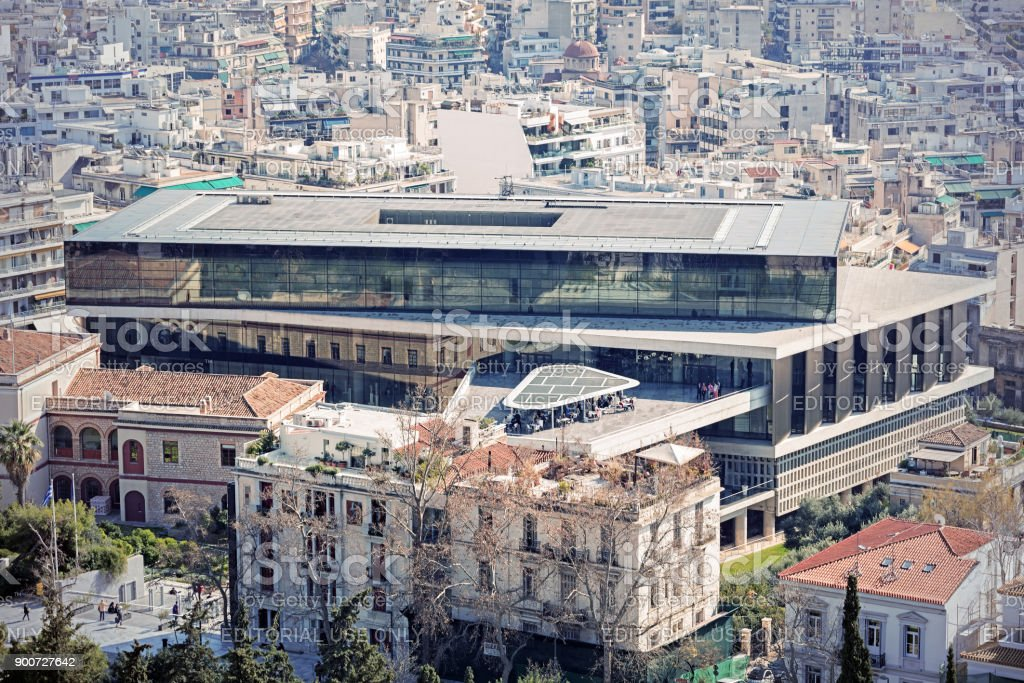 Cityscape with the New Acropolis Museum building as viewed from the Acropolis stock photo