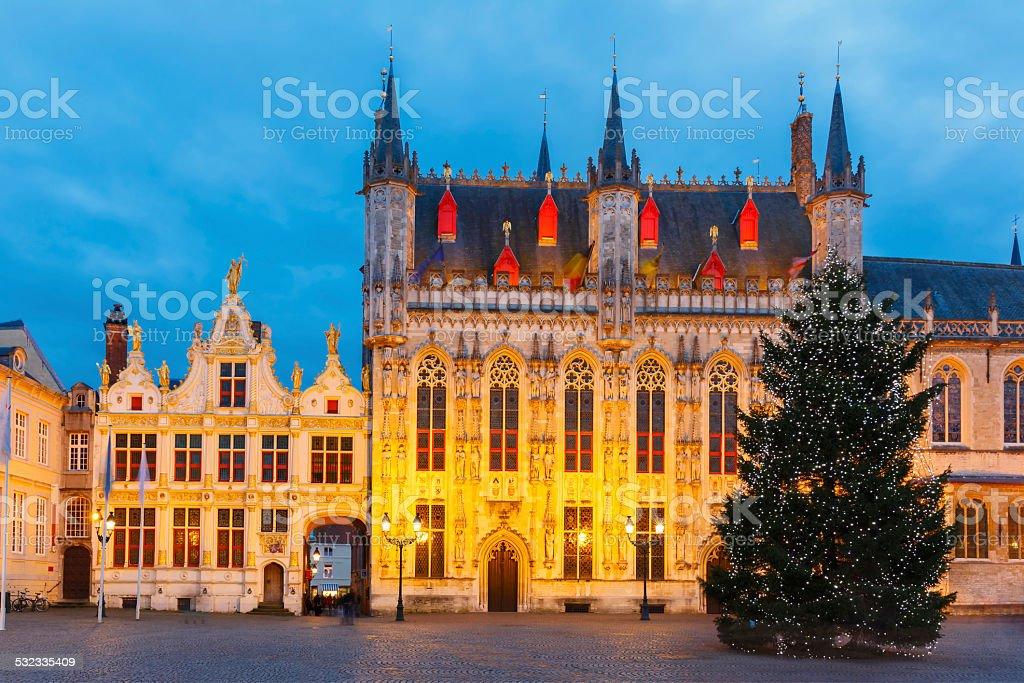 Paysage urbain avec le pittoresque Noël Burg mètres de Bruges - Photo