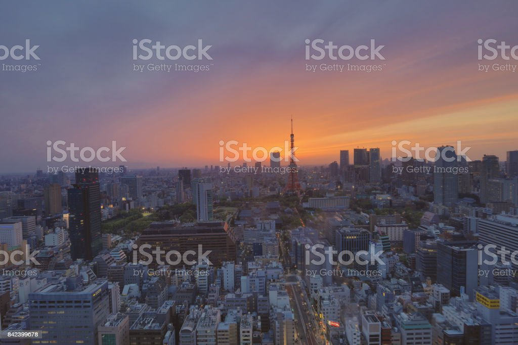 TOKYO cityscape with Tokyo tower stock photo