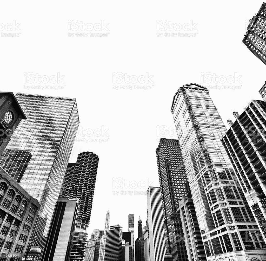 Cityscape,Chicago.Black And White royalty-free stock photo
